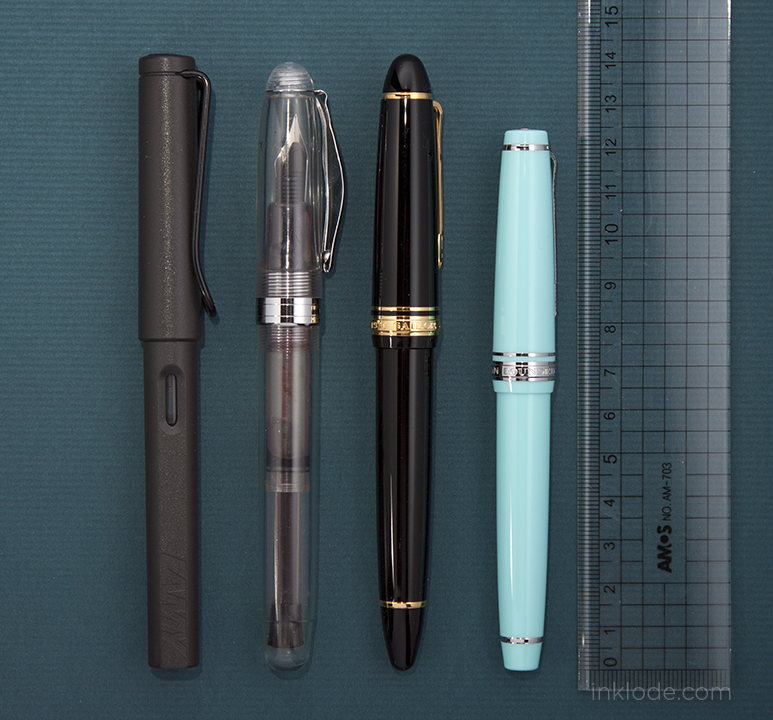 left to right: Lamy Safari, Noodler's Ahab, Sailor Profit 1911 L, Sailor Pro Gear Slim
