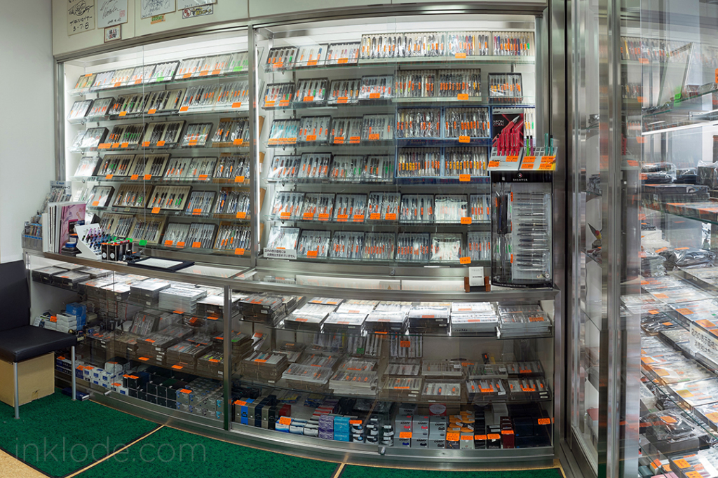 The shop has a wide assortment of pens on display